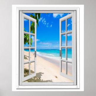 Tropisches Strand-Ozean-Ansicht-Imitat-Fenster Poster