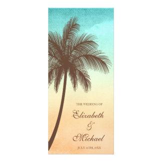 Tropisches Strand-Palme-Hochzeits-Programm Individuelle Werbe Karte