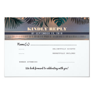 Tropisches Strand-Sonnenuntergang-Hochzeit in 8,9 X 12,7 Cm Einladungskarte