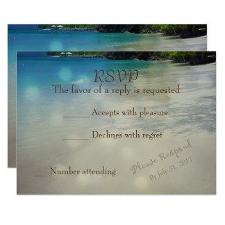 Tropisches Strand UAWG mit Initialen im Sand 8,9 X 12,7 Cm Einladungskarte
