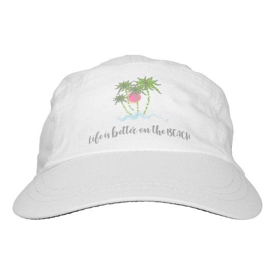 Tropisches Strand-Zitat-Sommer-Ferien-Weiß Headsweats Kappe