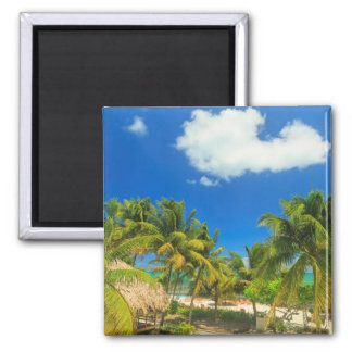 Tropisches Strandurlaubsort, Belize Quadratischer Magnet