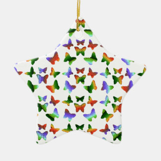 Tropisches Strudel-Schmetterlings-Muster Keramik Stern-Ornament