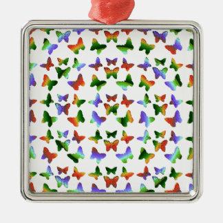 Tropisches Strudel-Schmetterlings-Muster Quadratisches Silberfarbenes Ornament