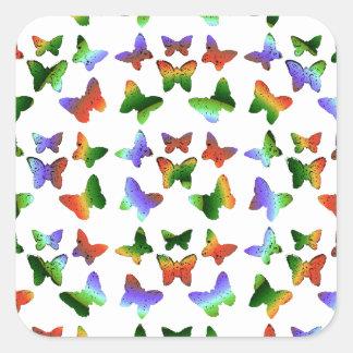 Tropisches Strudel-Schmetterlings-Muster Quadratischer Aufkleber