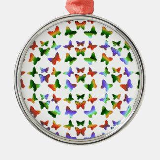 Tropisches Strudel-Schmetterlings-Muster Rundes Silberfarbenes Ornament