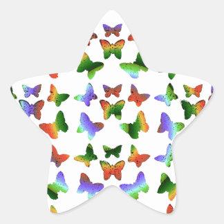 Tropisches Strudel-Schmetterlings-Muster Stern Aufkleber