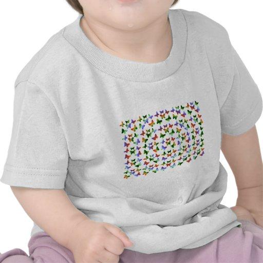 Tropisches Strudel-Schmetterlings-Muster T-shirt