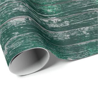 Tropisches tiefes Cali Waldgrün-rustikales Holz Geschenkpapier