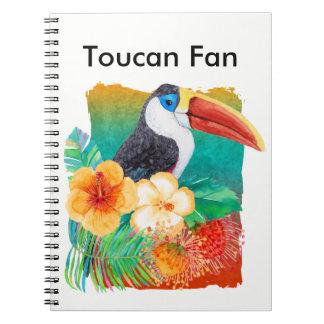 Tropisches Toucan Fan-Aquarell Spiral Notizblock