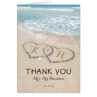 Tropisches Vintages Strand-Herz-Ufer danken Ihnen Mitteilungskarte