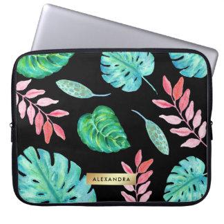 Tropisches Watercolor-Blätter auf Schwarzem mit Laptop Sleeve