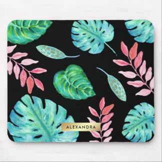 Tropisches Watercolor-Blätter auf Schwarzem mit Mauspad