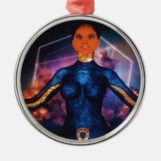 true_nubia_mascot1 rundes silberfarbenes ornament