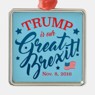 Trumpf Brexit Quadratisches Silberfarbenes Ornament
