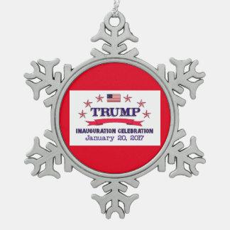 Trumpf-Einweihung Schneeflocken Zinn-Ornament