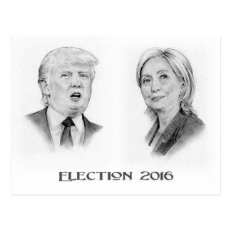Trumpf und Hillary-Bleistift-Porträts, Wahl 2016 Postkarte