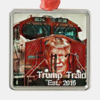 Trumpf-Zug… Est. 2016 Quadratisches Silberfarbenes Ornament