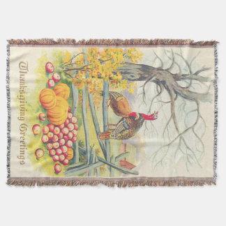 Truthahn-Bauernhof-Kürbis-Apfelbaum-Herbstlaub Decke