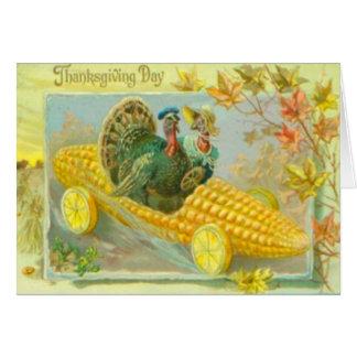 Truthähne in einem Mais-Auto Karte