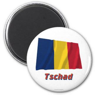 Tschad Fliegende Flagge MIT Namen Runder Magnet 5,7 Cm