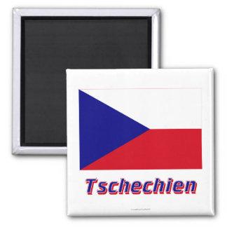 Tschechien Flagge MIT Namen Quadratischer Magnet