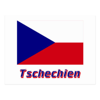 Tschechien Flagge MIT Namen Postkarte