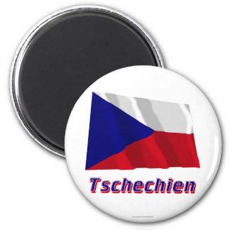 Tschechien Fliegende Flagge MIT Namen Runder Magnet 5,1 Cm