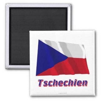 Tschechien Fliegende Flagge MIT Namen Quadratischer Magnet