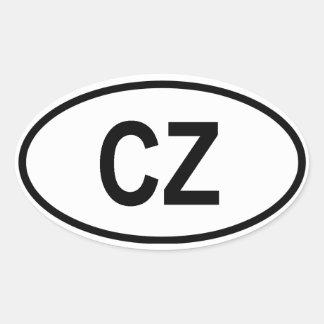 "Tschechische Republik ""CZ "" Ovaler Aufkleber"