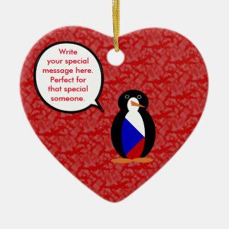 Tschechische Republik-Feiertags-Herr Penguin Keramik Herz-Ornament
