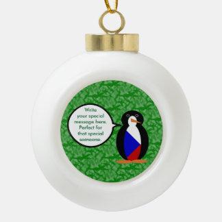 Tschechische Republik-Feiertags-Herr Penguin Keramik Kugel-Ornament