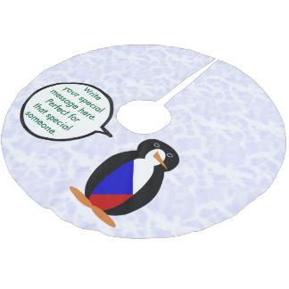 Tschechische Republik-Feiertags-Herr Penguin Polyester Weihnachtsbaumdecke