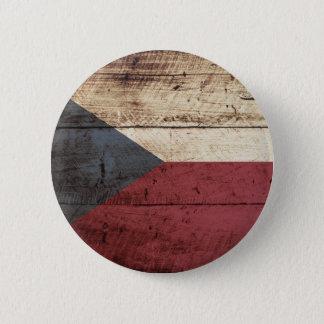 Tschechische Republik-Flagge auf altem hölzernem Runder Button 5,1 Cm