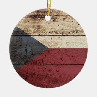Tschechische Republik-Flagge auf altem hölzernem Rundes Keramik Ornament