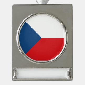 Tschechische Republik-Flagge Banner-Ornament Silber