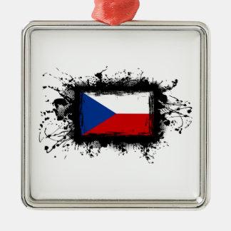 Tschechische Republik-Flagge Quadratisches Silberfarbenes Ornament