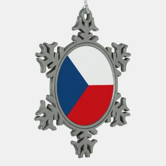 Tschechische Republik-Flagge Schneeflocken Zinn-Ornament