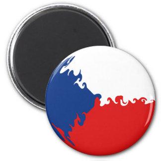 Tschechische Republik-Gnarly Flagge Runder Magnet 5,7 Cm