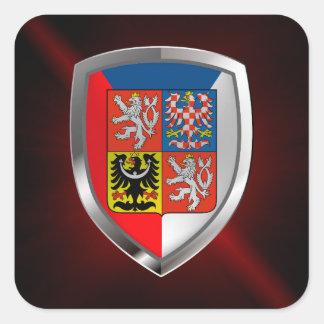 Tschechische Republik-metallisches Emblem Quadratischer Aufkleber