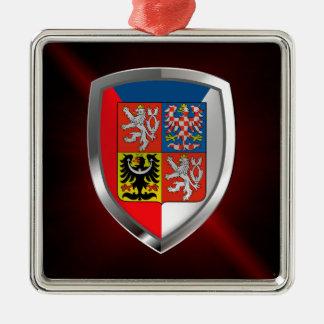 Tschechische Republik-metallisches Emblem Quadratisches Silberfarbenes Ornament
