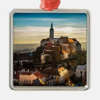 Tschechische Republik-Skyline Silbernes Ornament