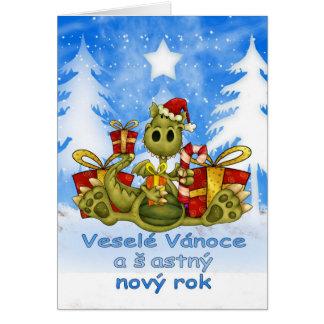 Tschechische Weihnachtskarte - niedlicher Drache - Grußkarte