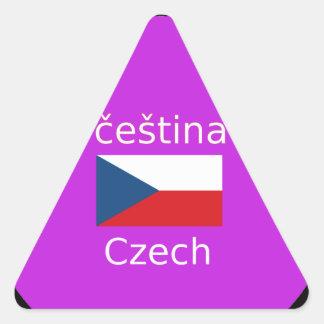 Tschechischer Flaggen-und Sprachentwurf Dreieckiger Aufkleber