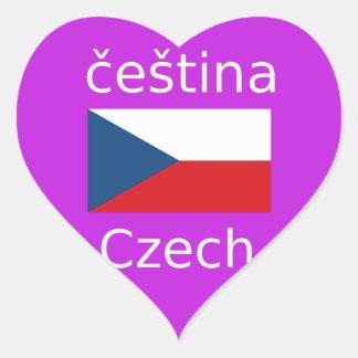 Tschechischer Flaggen-und Sprachentwurf Herz-Aufkleber
