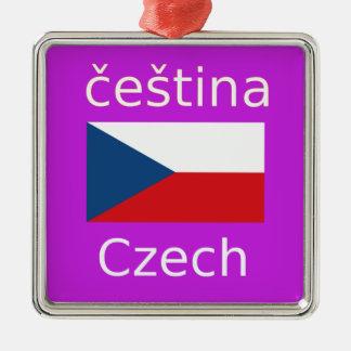 Tschechischer Flaggen-und Sprachentwurf Silbernes Ornament