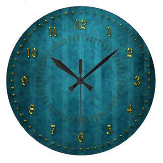 TTurquoise aquamarines abgestreift nummeriert Große Wanduhr