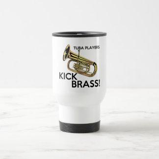 Tuba-Spieler-Tritt-Messing Reisebecher