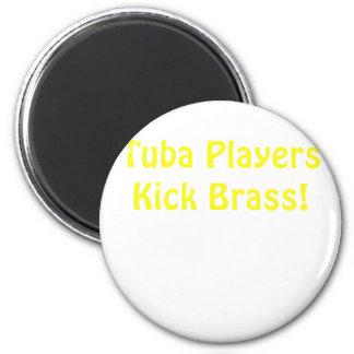 Tuba-Spieler-Tritt-Messing Runder Magnet 5,1 Cm