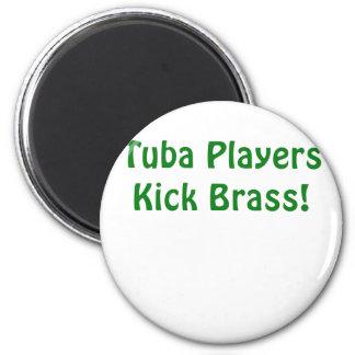 Tuba-Spieler-Tritt-Messing Runder Magnet 5,7 Cm